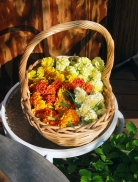 basket of marigolds