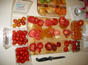 Tomato Tasting Tray.  One thing we sometimes to for dinner at Prior Unity Garden is the tomato tasting tray, where we just try all the different kinds of tomatoes from the garden.  Here is a tray with over 15 varieties - Yum !